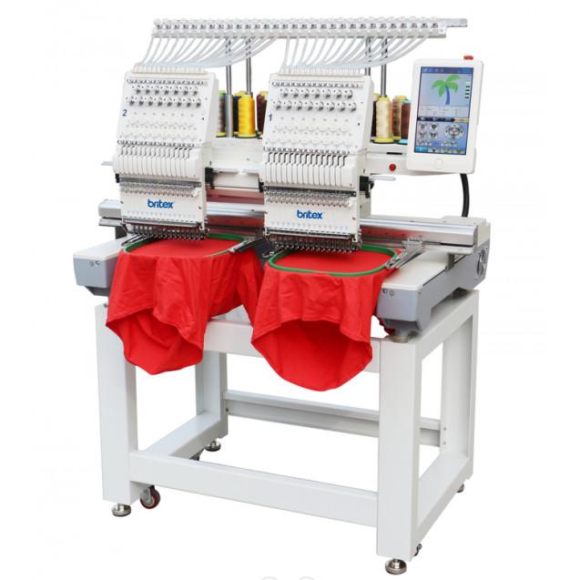 Britex BR-1202C A15 - Промышленная двоголовая 12ти игольная вышивальная машина, с полем вышивки 450x400 мм