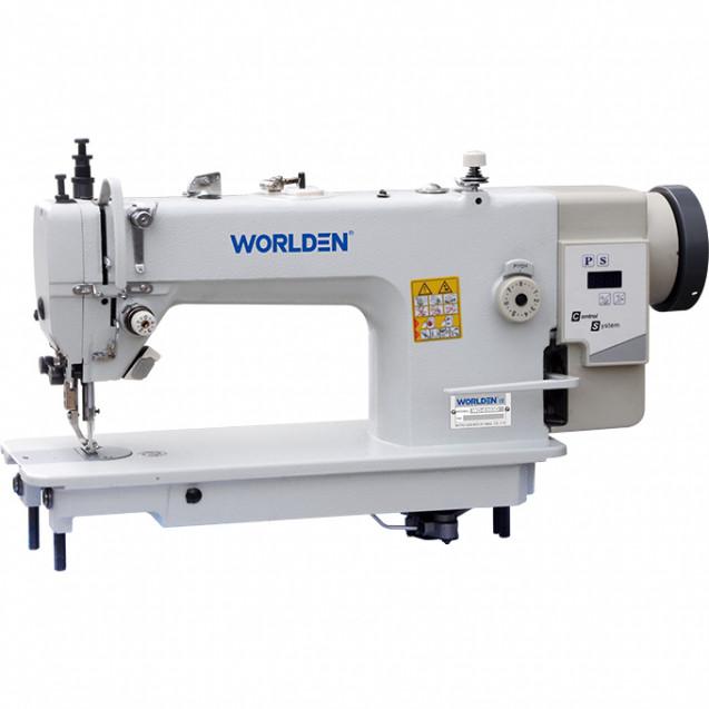 Прямострочная машина с прямым сервоприводом, тяжелые ткани, двойной транспорт Worlden WD-0303D на 8 мм