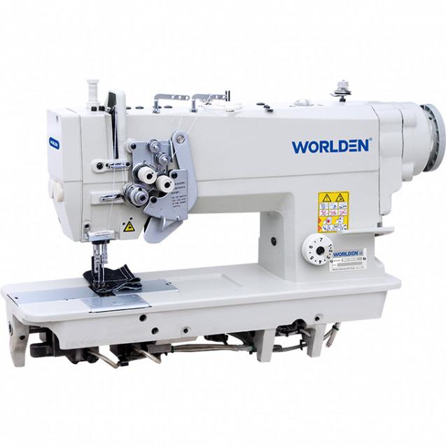 Двухигольная промышленная машина с игольным транспортом ( двойное продвижение ), функцией отключения игл с прямым сервомотором Worlden WD-875D