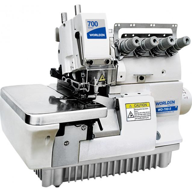 Промышленный оверлок пятиниточный с прямым сервоприводом, усиленный для тяжелых тканей Worlden WD 700D-5Н